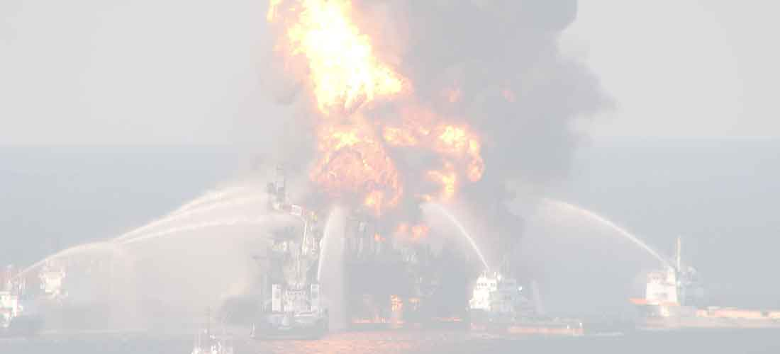 Fighting fire at sea